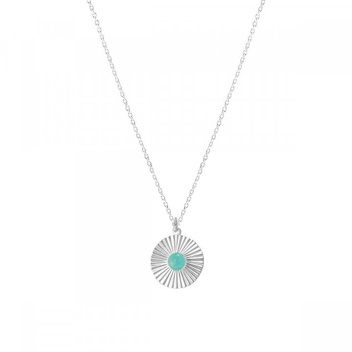 925 silver chain necklace with amazonite striated medal