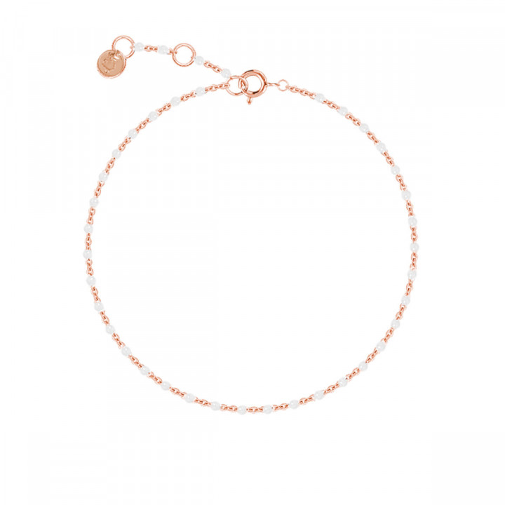 Rose gold-plated chain bracelet with white beads