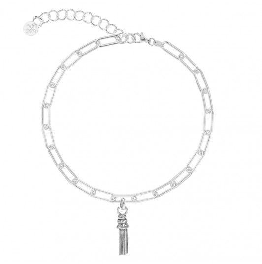 Chain bracelet with thick large links & pompom