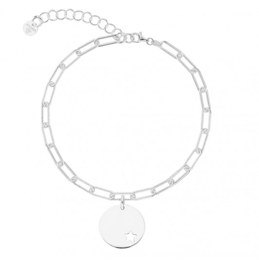 Chain bracelet with thick large links & hollowed star medal