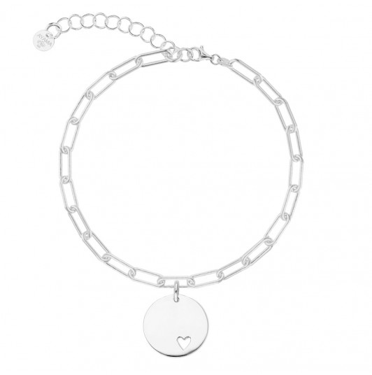 Chain bracelet with thick large links & heart medal