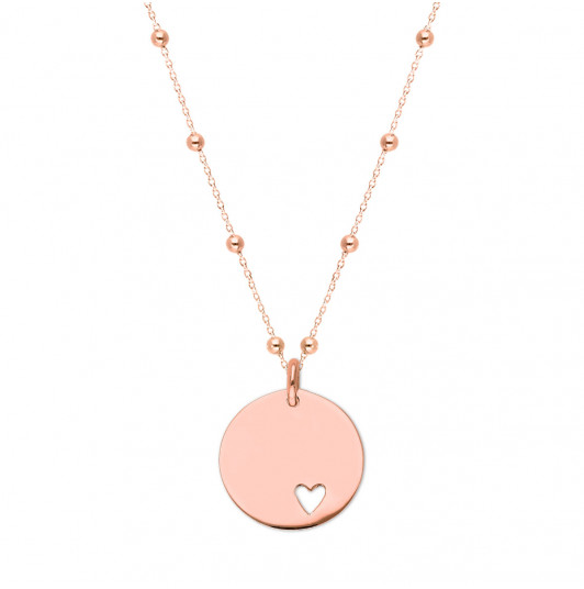 Beaded chain necklace with hollowed heart medal