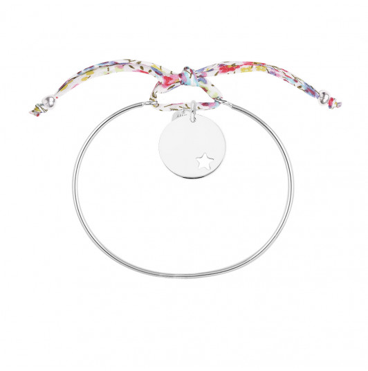 Liberty bangle bracelet with small hollowed star medal