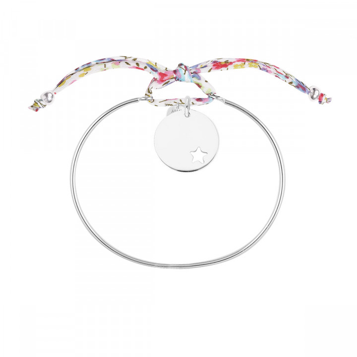 Liberty 925 silver bangle bracelet with hollowed star medal