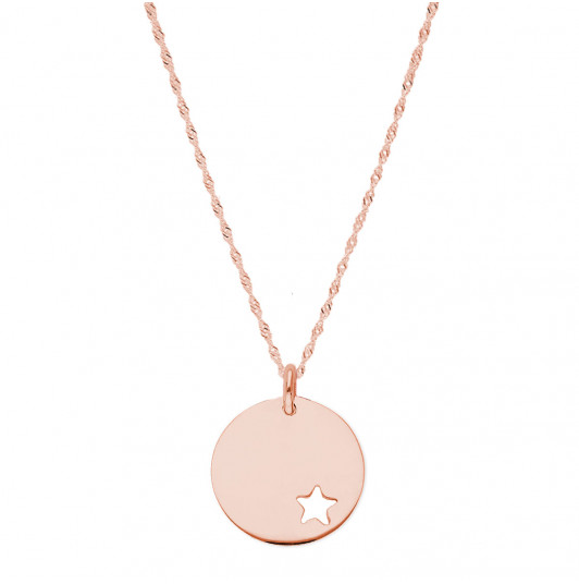 Thick twisted chain necklace & small hollowed star medal