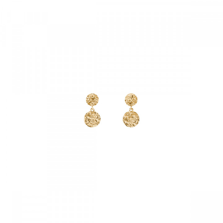 Gold-plated stud earrings with textured medals