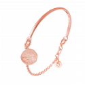 Rose gold-plated Half bangle and chain bracelet with Naïa medal