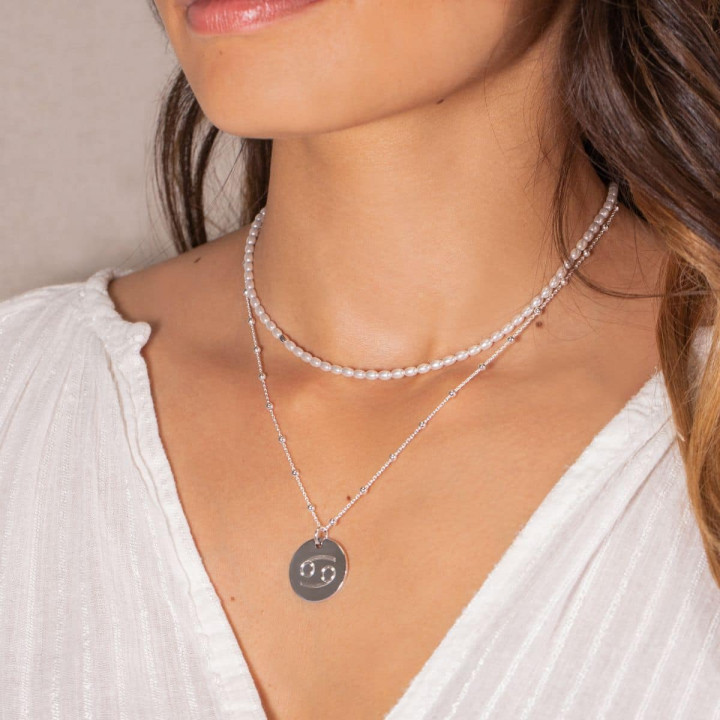 925 Silver Astro & Freshwater pearls necklace set
