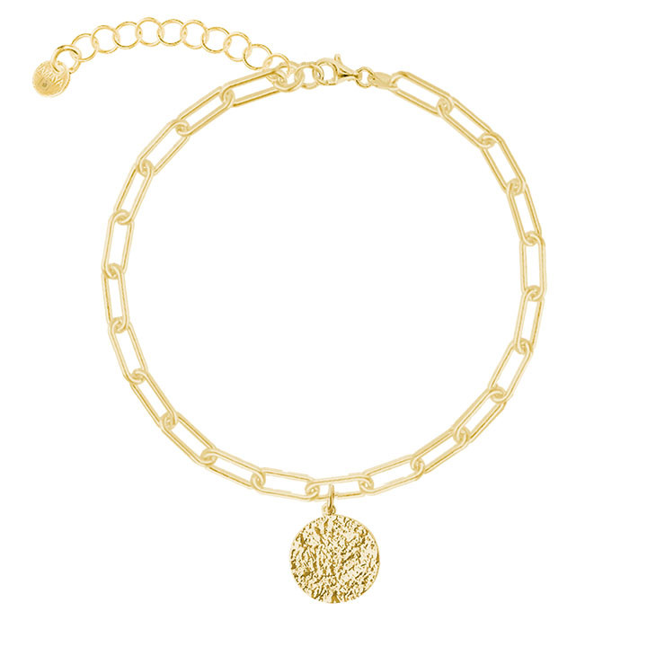 Gold-plated chain bracelet with large links & Maya medal