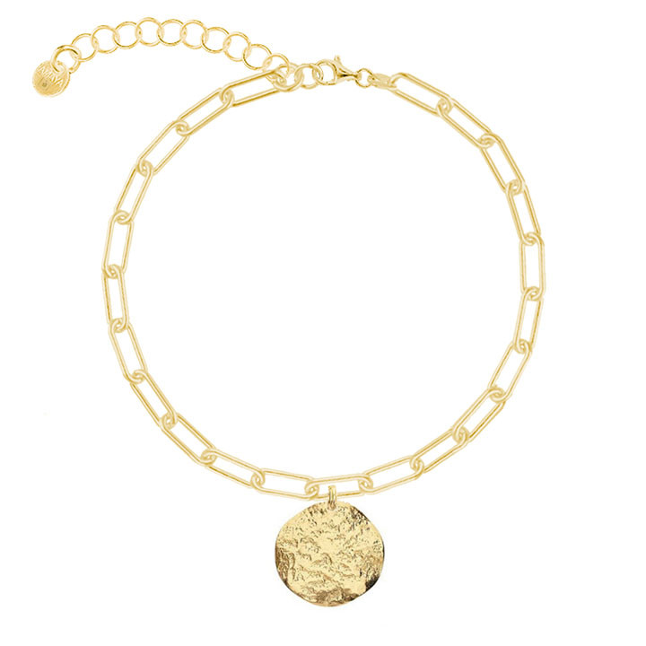 Gold-plated chain bracelet with large links & small Atlas medal