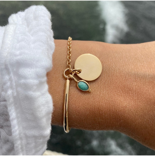 Half bangle and chain bracelet with medal & beaded oval Amazonite