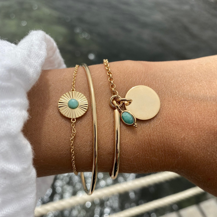 Gold-plated half bangle and chain bracelet with medal & beaded oval Amazonite