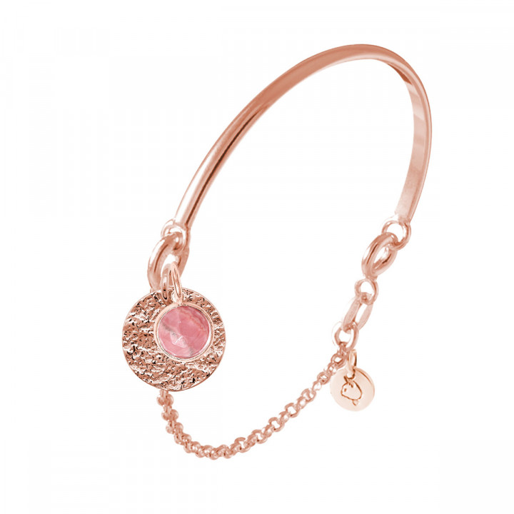 Rose gold-plated half bangle and chain bracelet with Maya medal & gemstone