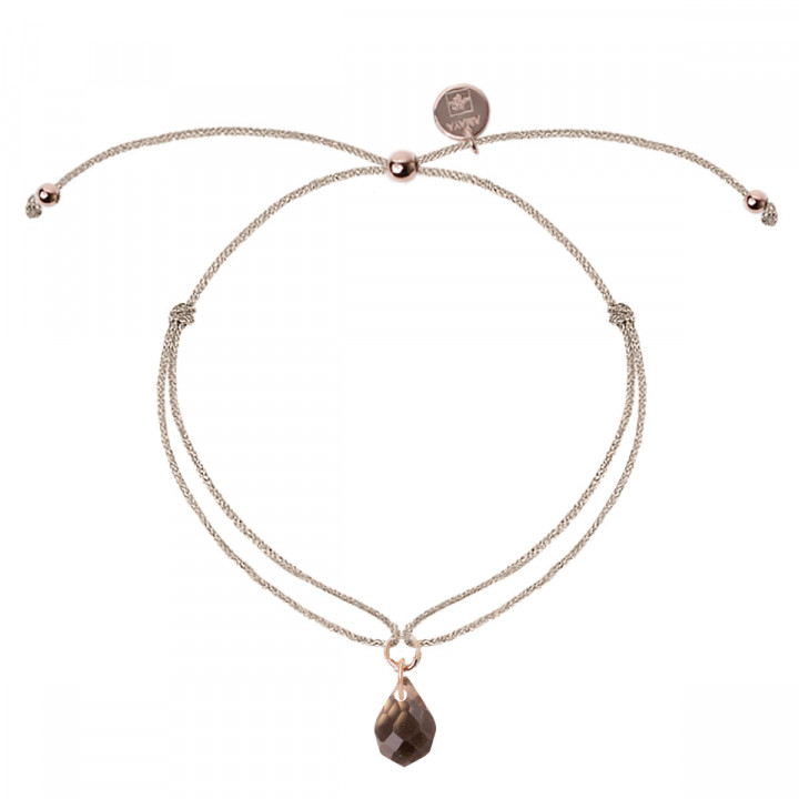 Rose gold-plated tie bracelet with tinted quartz