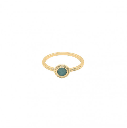 Band ring with small beaded Aventurine medal