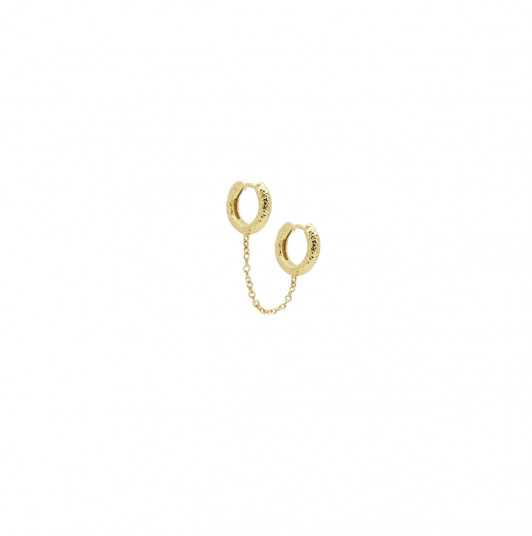 [Single] Double textured hoop earrings with chain