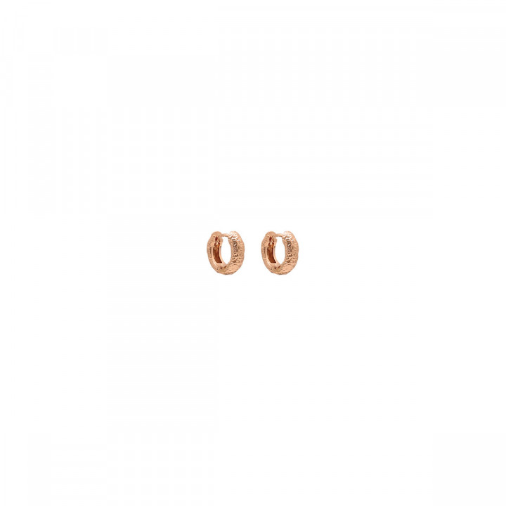 Rose gold-plated small textured hoop earrings