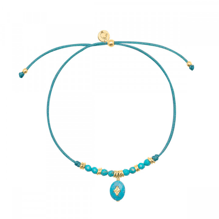 Gold-plated turquoise beads & starry stone silky thread bracelet