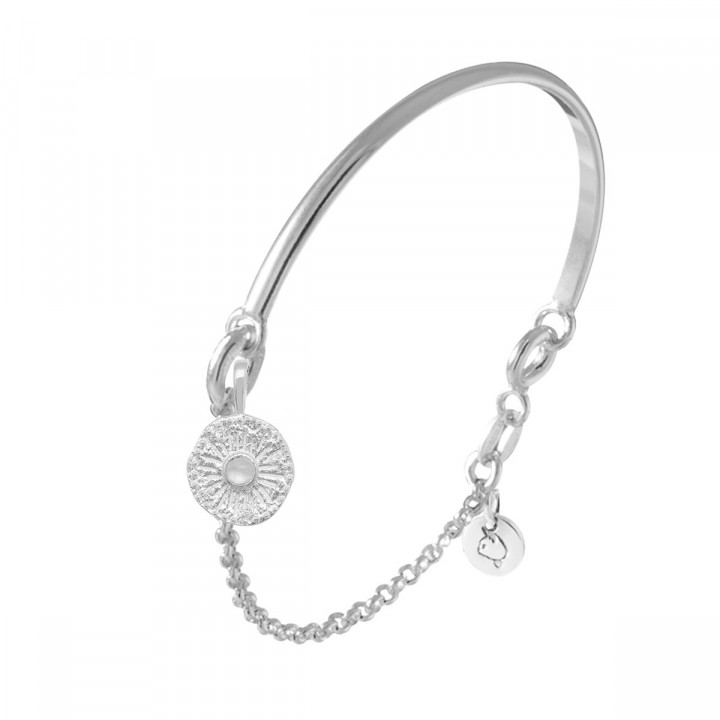 925 Silver half bangle and chain bracelet with sun Moonstone medal