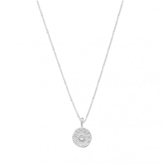 Flat beaded chain necklace & sun Moonstone medal