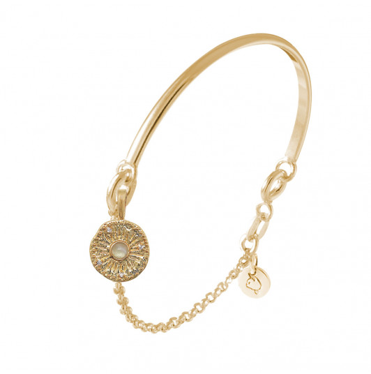 Half bangle and chain bracelet with sun Moonstone medal
