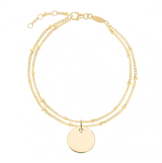 Two-row beaded chain bracelet with medal
