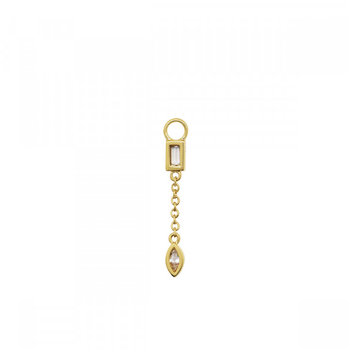 Gold-plated hanging pendant with chain for hoop earring