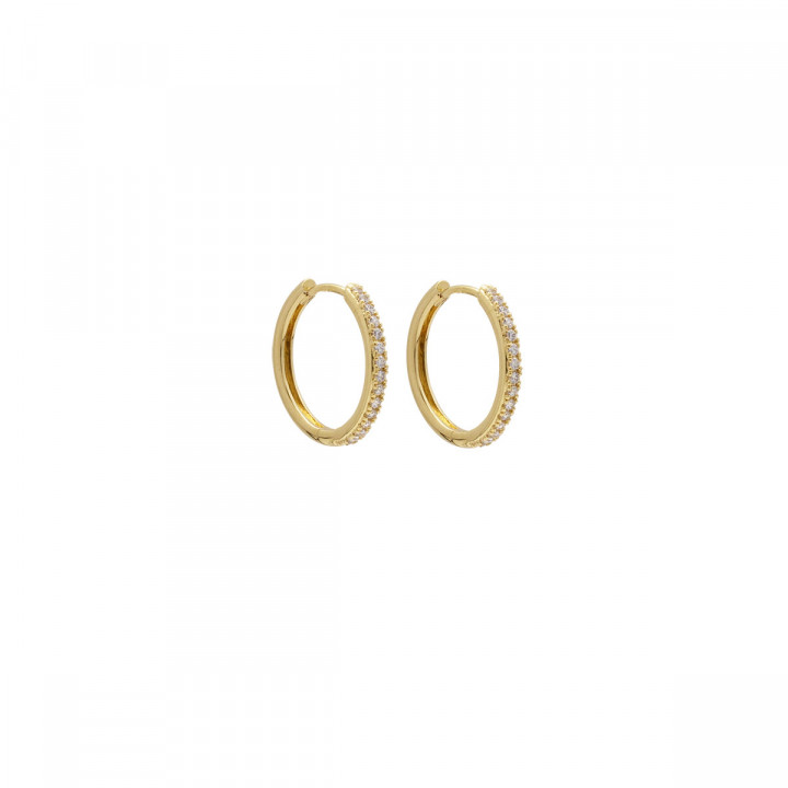 Gold-plated large hoop earrings with zircons