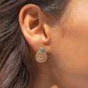 Gold-plated Amazonite stud earrings with flower medal