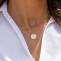 Gold-plated two-row beaded chain necklace with Maya medal