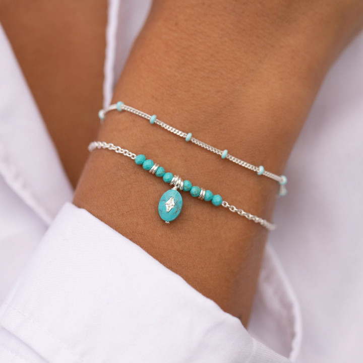 925 Silver Turquoise beads & starry stone chain bracelet