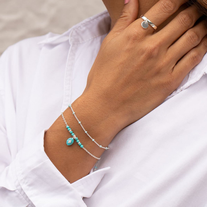 925 Silver chain bracelet with turquoise blue enamel beads