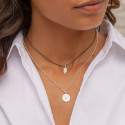 925 Silver Flat beaded chain necklace & sun Moonstone medal