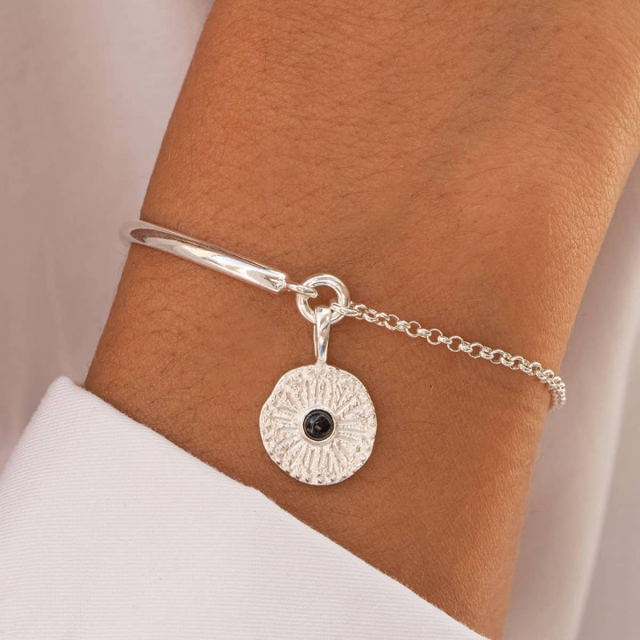 925 Silver half bangle and chain bracelet with sun Onyx medal