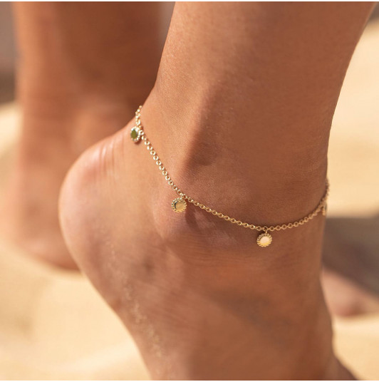 Chain anklet with beaded medals