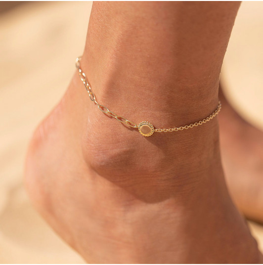 Large link chain anklet with beaded medal