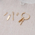 Gold-plated textured pendant for hoop earring
