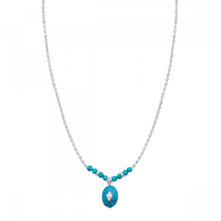 925 Silver chain necklace with Turquoise row & starry stone