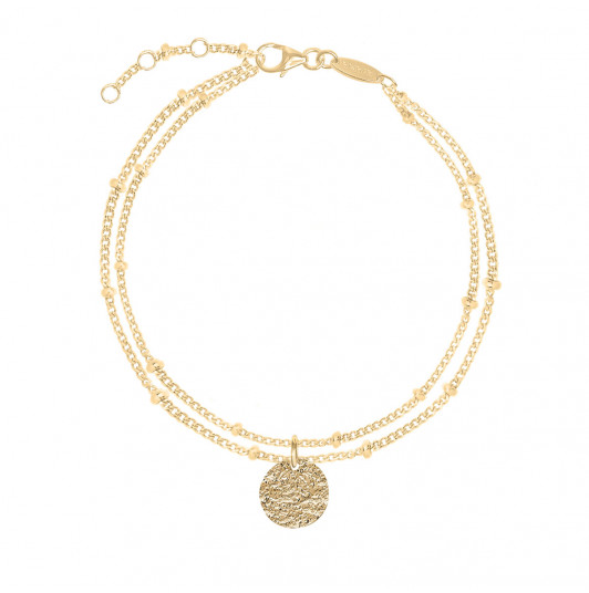 Two-row beaded chain bracelet with small Maya medal