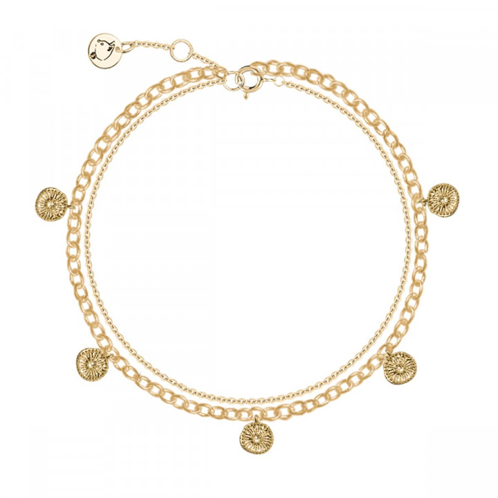 Gold-plated two-row chain bracelet with 5 flower medals