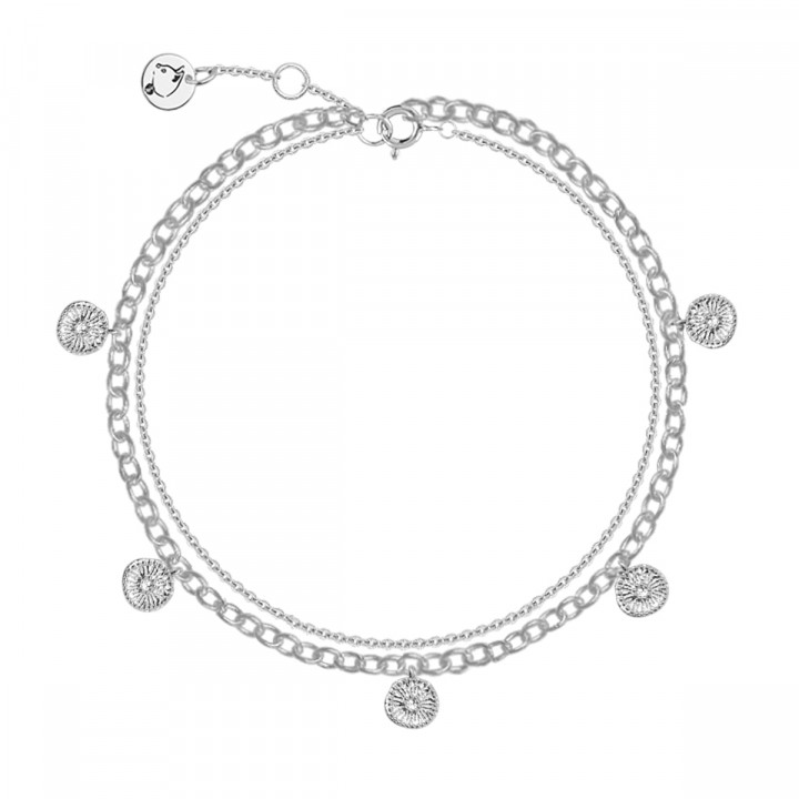 925 Silver two-row chain bracelet with 5 flower medals
