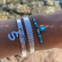 925 Silver turquoise beads & starry stone silky thread bracelet