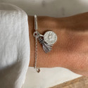 925 Silver half bangle and chain bracelet with sun Moonstone & pompom
