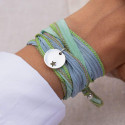 925 Silver silk ribbon bracelet with small hollowed star medal
