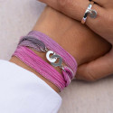 925 Silver silk ribbon bracelet with small handcuffs