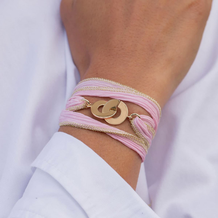 Gold-plated silk ribbon bracelet with handcuffs