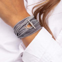 925 Silver silk ribbon bracelet with t toggle