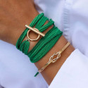 Gold-plated silk ribbon bracelet with t toggle