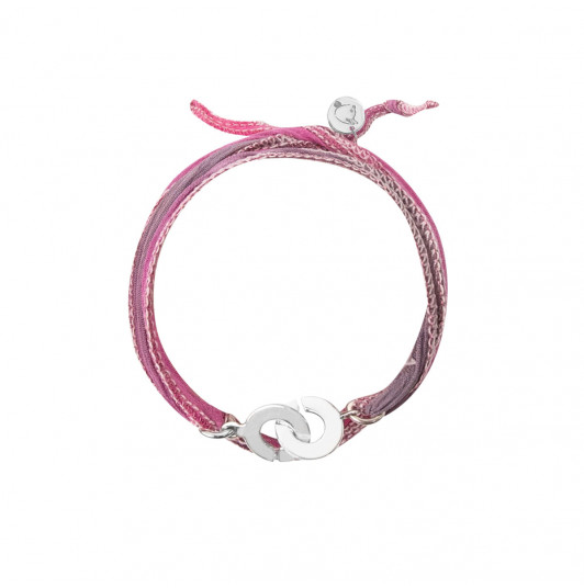 Silk ribbon bracelet with small handcuffs