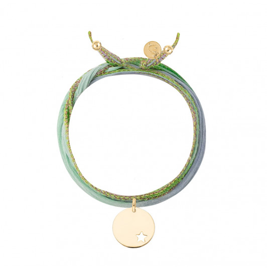 Silk ribbon bracelet with small hollowed star medal